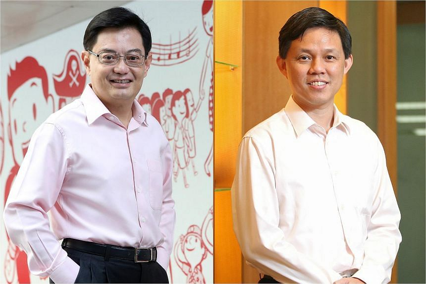 Finance Minister Heng Swee Keat (left) will lead the PAP's efforts to analyse its performance in the 2015 General Election, while labour chief Chan Chun Sing will head the executive committee of the party's headquarters.