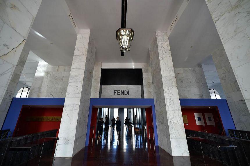 The entrance hall of the Palazzo della Civilta Italiana in Rome where fashion house Fendi has inaugurated its new headquarters, on Oct 22, 2015.