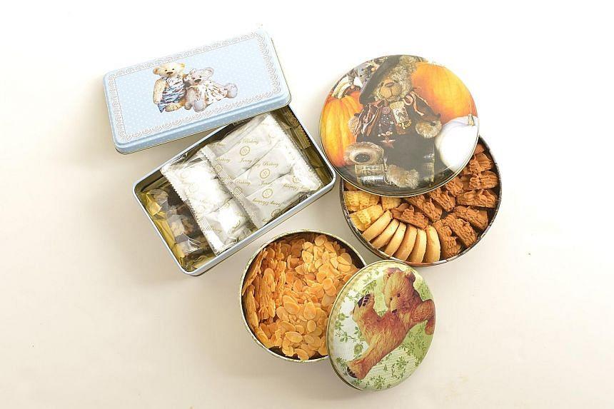 Jenny Bakery's range of cookies include (clockwise from top left) nougat candy, 4 Mix Butter Cookies and almond flakes.