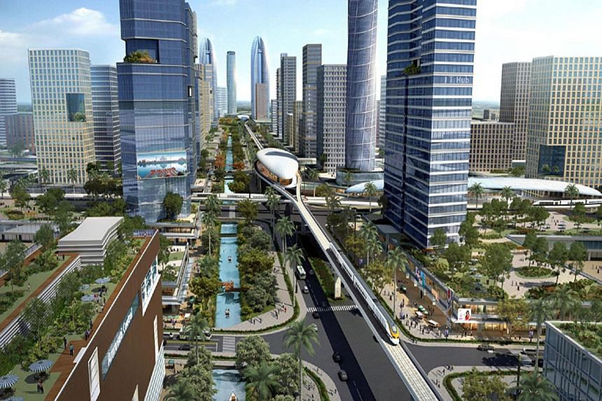An artist's impression of Amaravati, the capital city of the southern Indian state of Andhra Pradesh that Singapore is helping to build. A foundation-stone laying ceremony was held yesterday to launch the city.