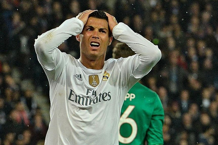Real Madrid's Portuguese forward Cristiano Ronaldo, their newly minted all-time top scorer, after missing one of his many chances to break the deadlock.
