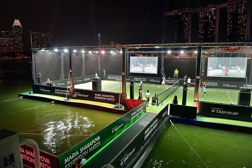 Singapore's first floating tennis platform was the stage for the exhibition game between Michael Chang and Maria Sharapova.