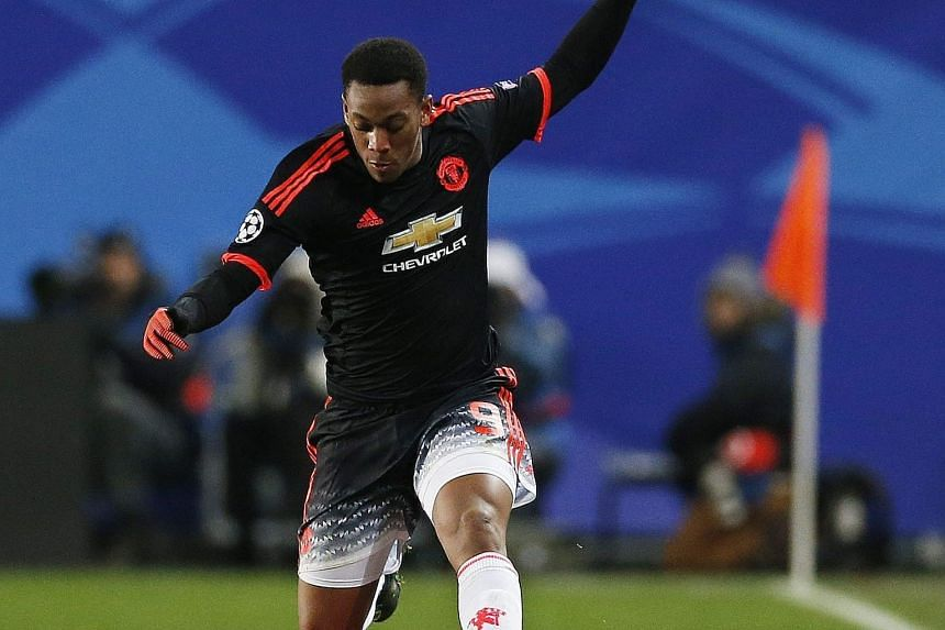 Anthony Martial in full flight against CSKA Moscow. He made amends for conceding a penalty by heading home the 65th-minute equaliser in the 1-1 draw.