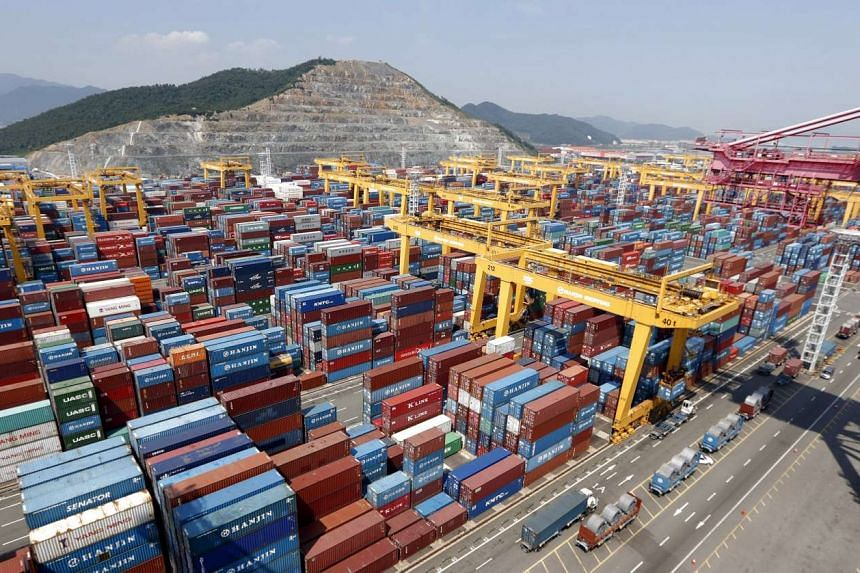 Hanjin Shipping's container terminal at the Busan New Port in 2013.
