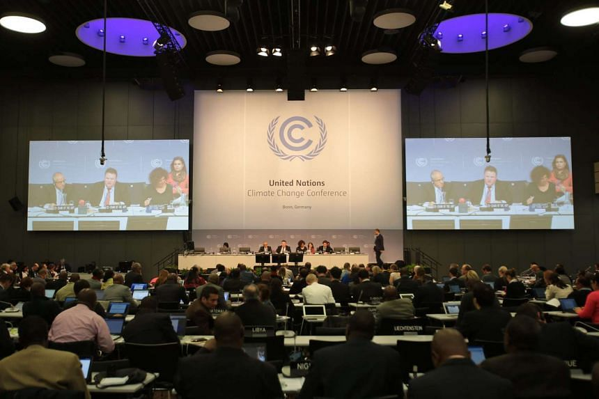 Delegates at the climate summit in Bonn, Germany, on Oct 20, 2015.