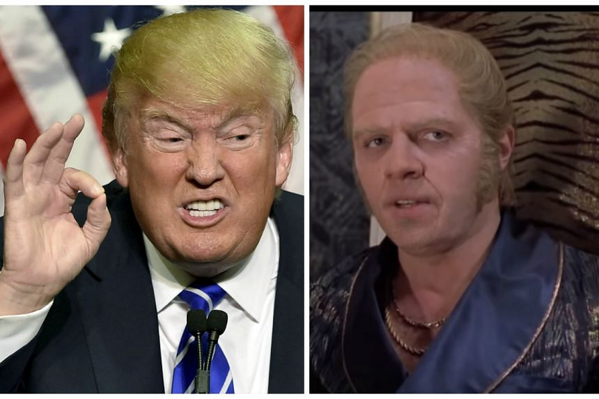 Republican presidential frontrunner Donald Trump (left) was the inspiration for Biff Tannen (right).
