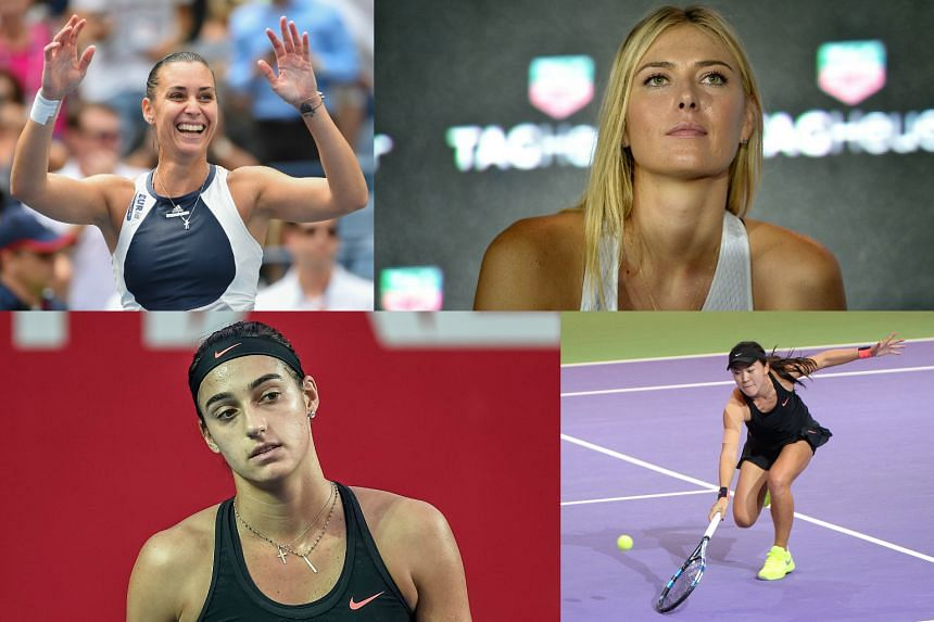 (Clockwise from top left) Simona Halep, Maria Sharapova, Zhu Lin and Caroline Garcia are some of the stars at the WTA Finals Singapore.