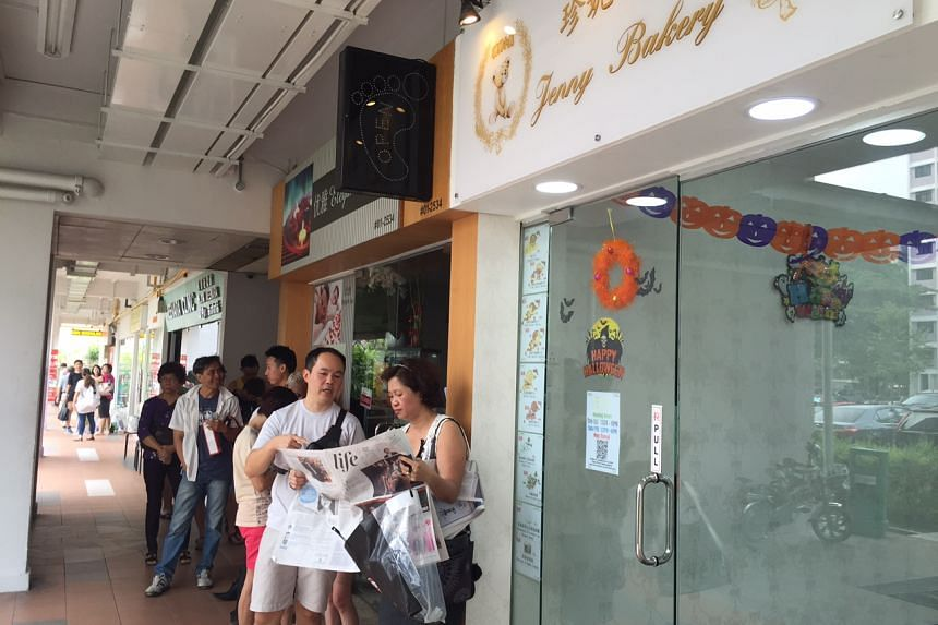 The queue outside the bakery, which opened on Friday at Block 422 Ang Mo Kio Avenue 3.