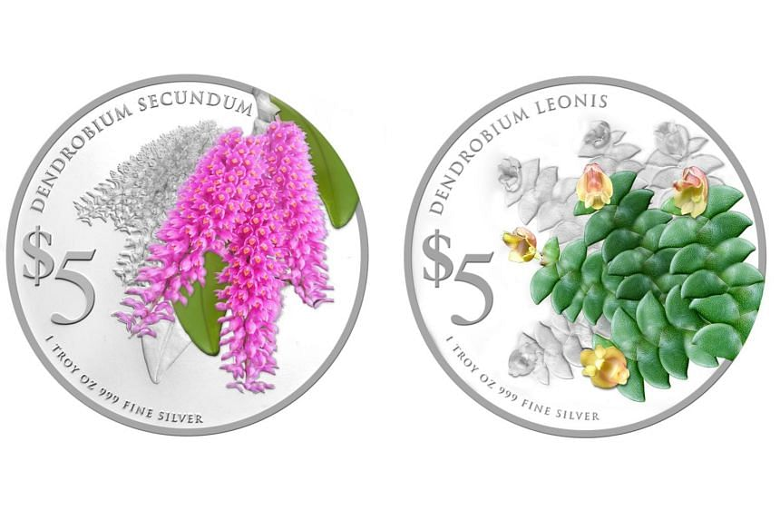 The 2015 Native Orchids of Singapore coins feature the Dendrobium leonis (right) and the Dendrobium secundum orchids.