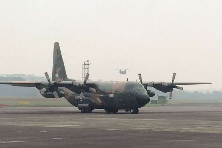 A C-130 aircraft carrying SAF and SCDF personnel and their equipment returning from Palembang, Indonesia.