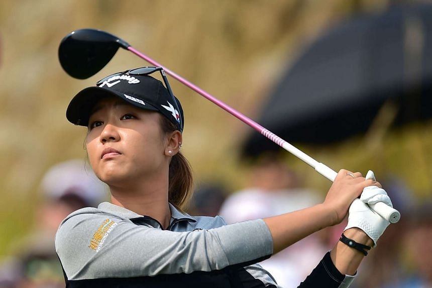 Lydia Ko of New Zealand tees off on the ninth hole during the final round of the LPGA KEB Hana Bank Championship golf event at the Sky72 Golf Club in Incheon, west of Seoul, on Oct 18, 2015.