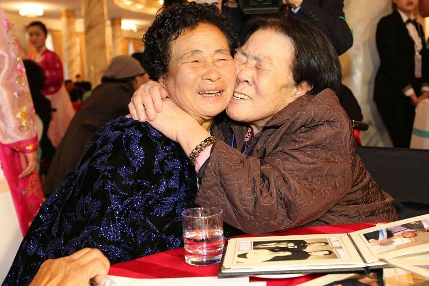 South Korean resident Cho Sun-Jeon (Right) meets her North Korean daughter Cho Gwi-Nyeo (Left).