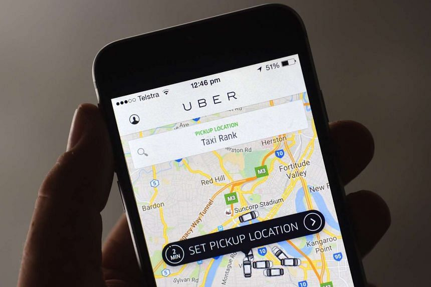 The Uber app is seen on a mobile phone in Queensland, Australia, on Oct 15, 2015.