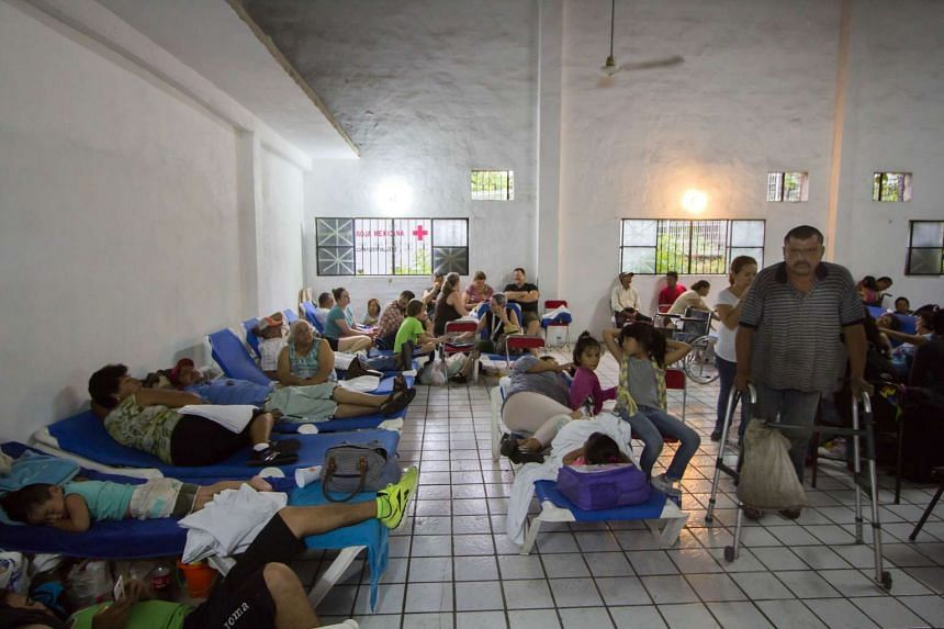 Evacuees at a shelter in Puerto Vallarta, Mexico, on Oct 23, 2015, during hurricane Patricia.