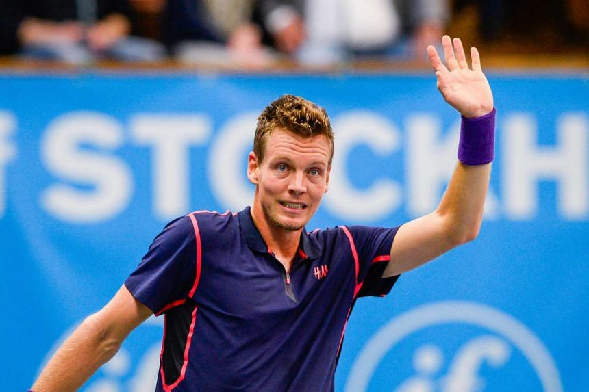 Czech Republic's Tomas Berdych reacts after winning over Cyprus' Marcos Baghdatis the semi final match of the ATP Stockholm Open tennis tournament on Oct 24, 2015.