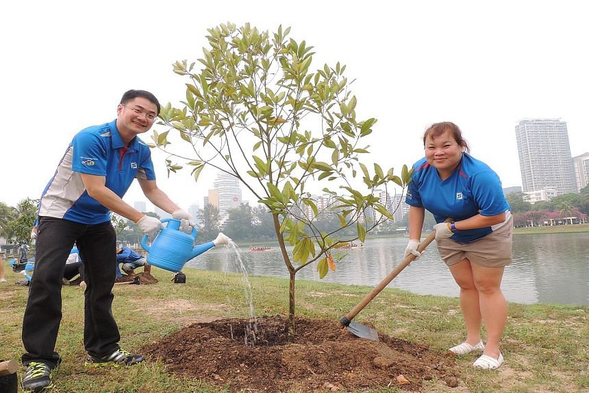 (Top) Standard Chartered staff with senior citizens at the bank's annual Silver Linings Carnival. This year's event next month will involve more than 1,000 staff volunteers. (Above) Singapore Pools staff planting trees on Oct 16 to support the Garden