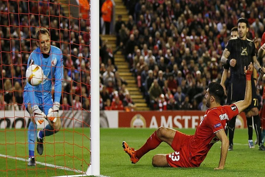 Emre Can scoring the equaliser for Liverpool against Rubin Kazan. The Reds will next host Southampton in the Premier League tomorrow.