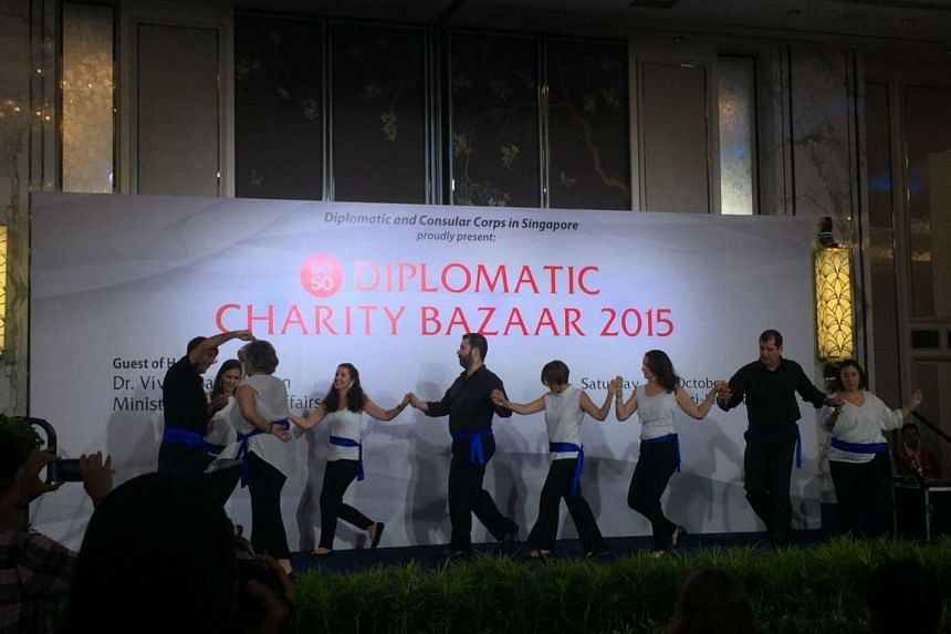 A Greek folk dancing performance at the Diplomatic Charity Bazaar 2015 held at the Shangri-La Hotel on Oct 24, 2015.