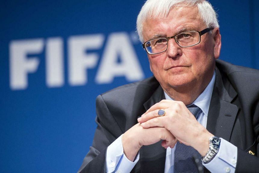 German Fifa Executive Committee member Theo Zwanziger at a press conference on Mar 20, 2015, in Zurich, Switzerland.