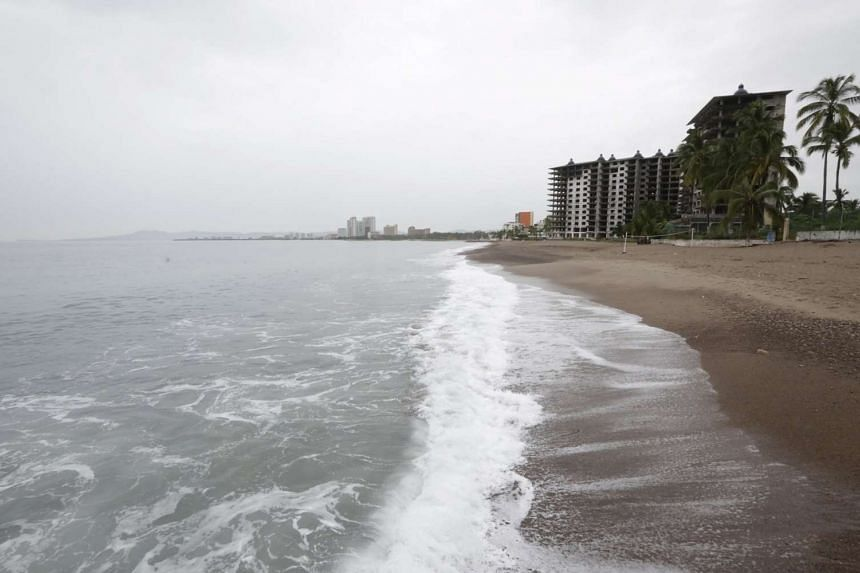 Hotels pictured after tourists were evacuated as Hurricane Patricia approaches the Pacific beach resort of Puerto Vallarta.