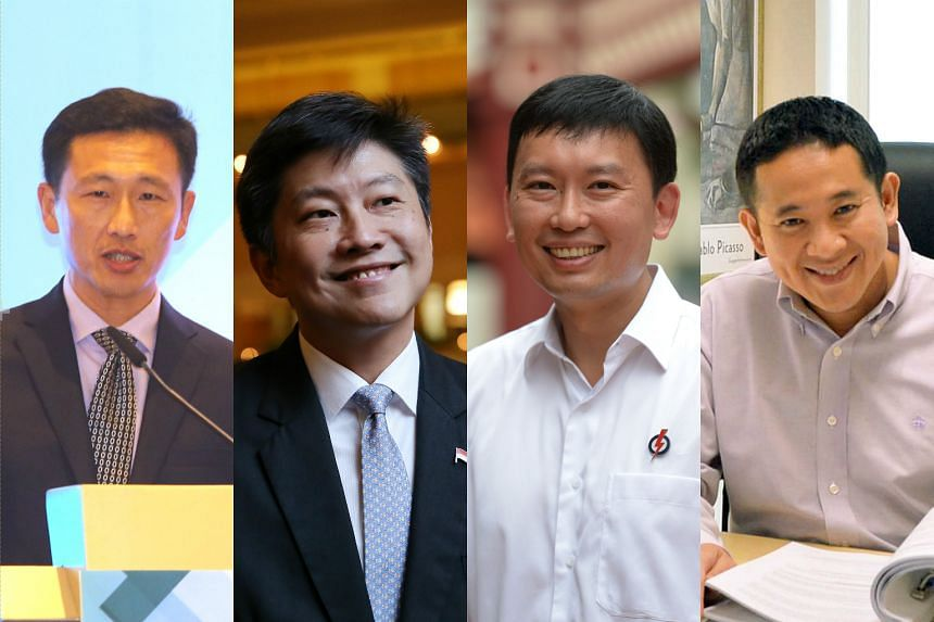 (From left) Newly-elected office holders Ong Ye Kung, Ng Chee Meng, Chee Hong Tat and Amrin Amin.
