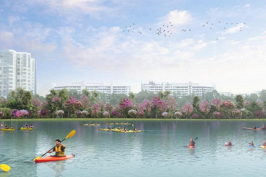An artist's impression of the upcoming Jurong Lake Gardens, which will feature flowery trees such as the Malayan Crepe Myrtle, Pink Mempat and Rosy Trumpet Tree.