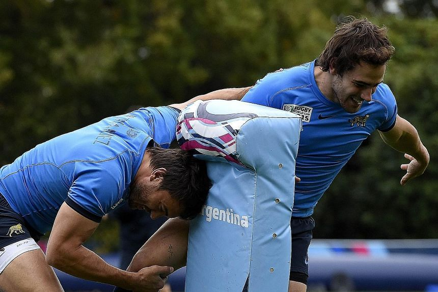 "Argentina centre Juan Martin Hernandez (left) and fly-half Nicolas ""The Magician"" Sanchez during training on Friday. The duo are key to their team's hopes of reaching their first-ever final."