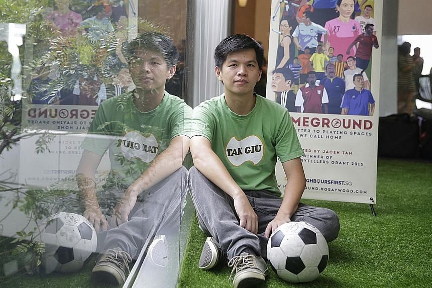 Film-maker Jacen Tan at the premiere of Homeground, his short documentary on amateur football culture, at *Scape Orchard yesterday.