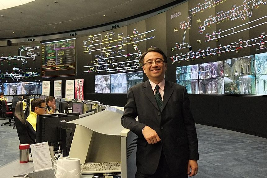 """MTR Corporation's director of operations, Dr Jacob Kam, at the Super Operations Control Centre, the central nervous system of the entire MTR network. Hong Kong's rail network has an """"on-time"""" rate of 99.9 per cent."""