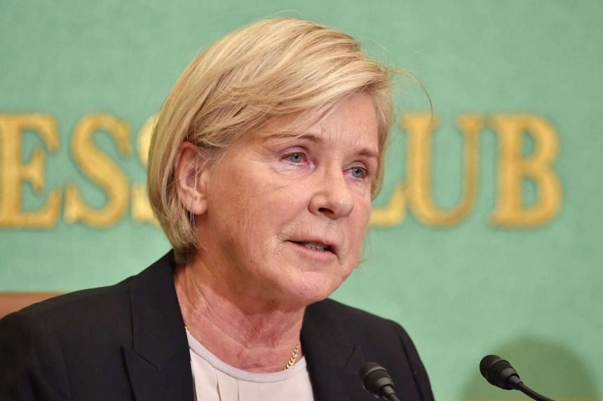 United Nations Special Rapporteur Maud de Boer-Buquicchio speaking during a press briefing at the Japan National Press Club in Tokyo on Oct 26, 2015.