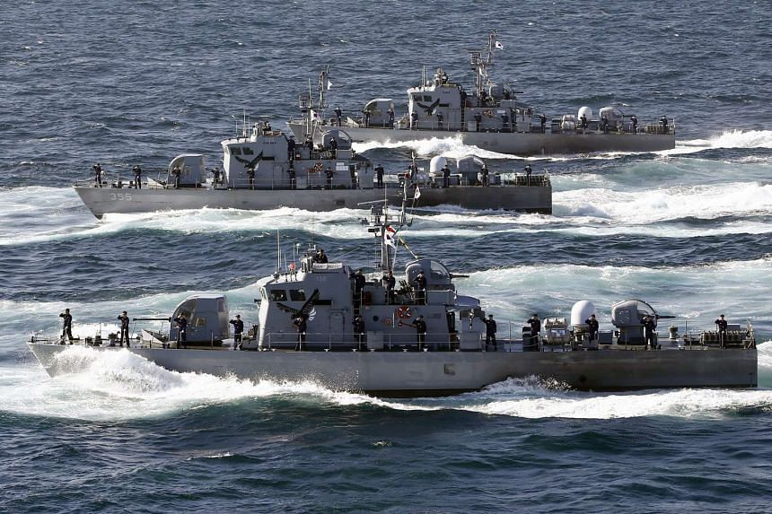 South Korean PKM Chamsuri class patrol craft participate in the South Korean Navy Fleet Review off the coast of Busan, South Korea on Oct 17, 2015.