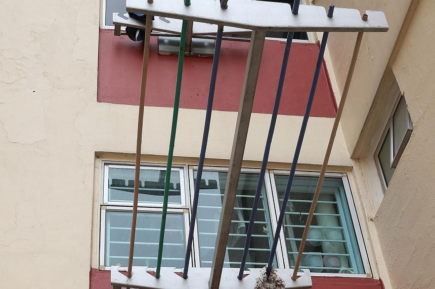 This design was introduced from 2007 as old flats were upgraded under the Home Improvement Programme. The rack, which supports both sides of a pole, improves safety and prevents falls, said the HDB. A metal plate with holes was later added to the sid