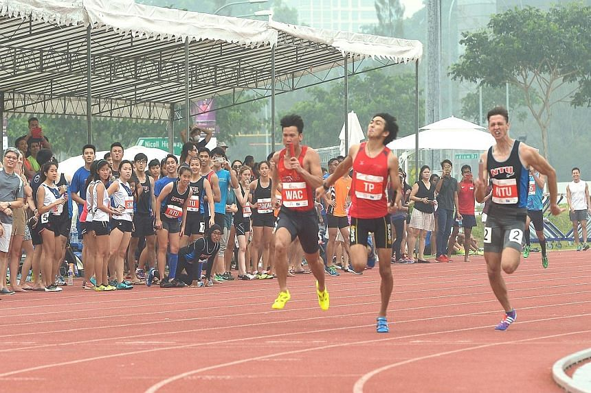 Top: Temasek Polytechnic (centre), Nanyang Technological University (right) and Wings Athletics Club finishing second, third and fourth respectively in the 4x100m relay behind the NUS quartet (out of picture). Above: RP's Shanti Pereira (centre) won