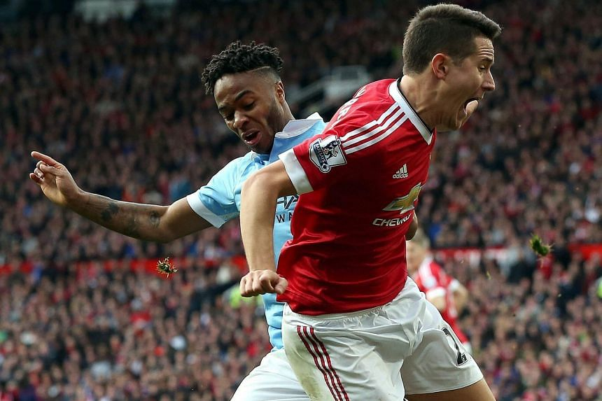 Manchester United's Ander Herrera appealing for a penalty after a challenge by City's Raheem Sterling. Chris Smalling headed marginally wide from Juan Mata's resulting corner, providing one of the game's few moments of excitement.