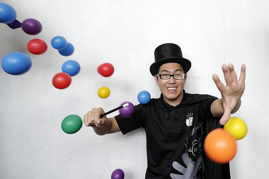 Mr Wee Kien Meng usually performs at children's parties and holds science and craft workshops.
