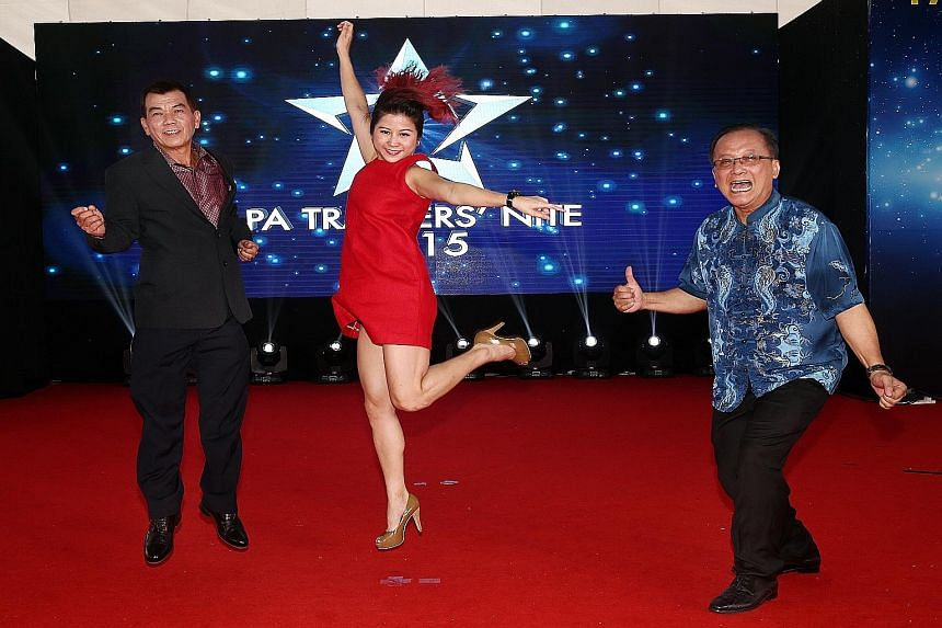 PA trainers (from left) Tony Yau, Maddy Lim and Yahaya Hamid received awards at the PA Stars Trainer Awards last night.