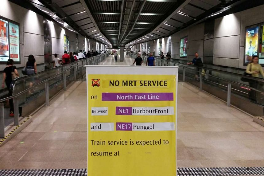 A service disruption poster seen at Serangoon station. A two-hour train disruption on the NEL on Monday morning was caused by a new train undergoing testing, the LTA said.