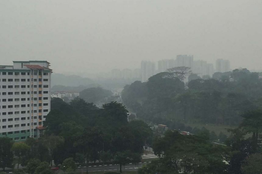 The hazy view at Choa Chu Kang at about 11am on Oct 26, 2015.