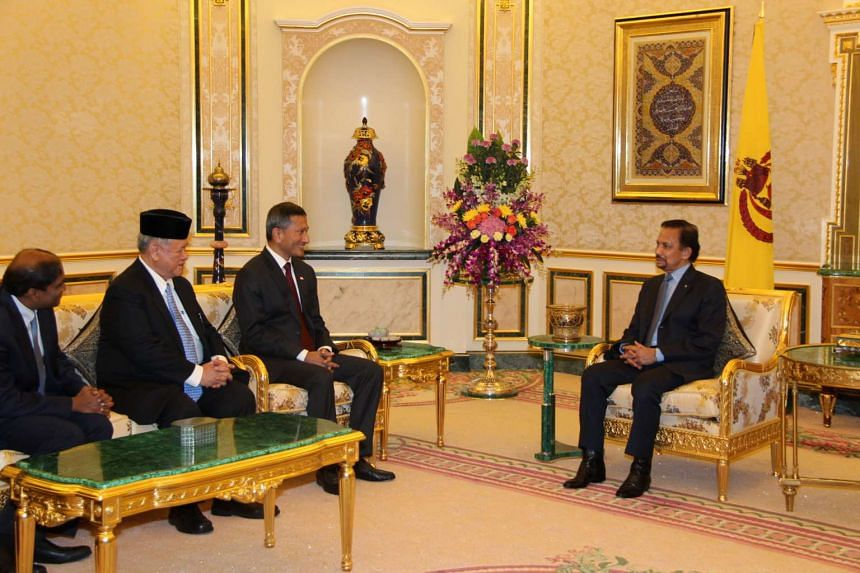 Singapore Minister for Foreign Affairs Vivian Balakrishnan meeting His Majesty Sultan Haji Hassanal Bolkiah during his introductory visit to Brunei on Oct 26, 2015.