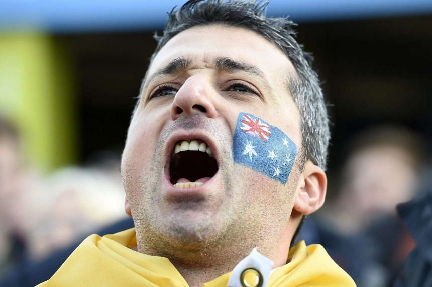 An Australian fan before the Rugby World Cup 2015 semi final match between Argentina and Australia at Twickenham Stadium in London on Sunday.