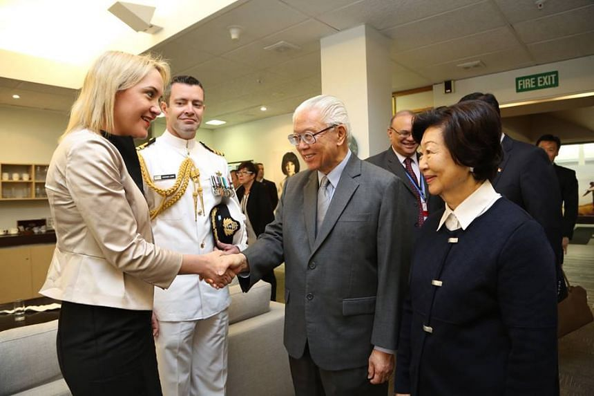 President Tony Tan Keng Yam (centre) and Mrs Tan (right) being received by The Honourable Nikki Kaye (left), Minister for Accident Compensation Corporation and Minister for Civil Defence on their arrival at the Auckland International Airport.