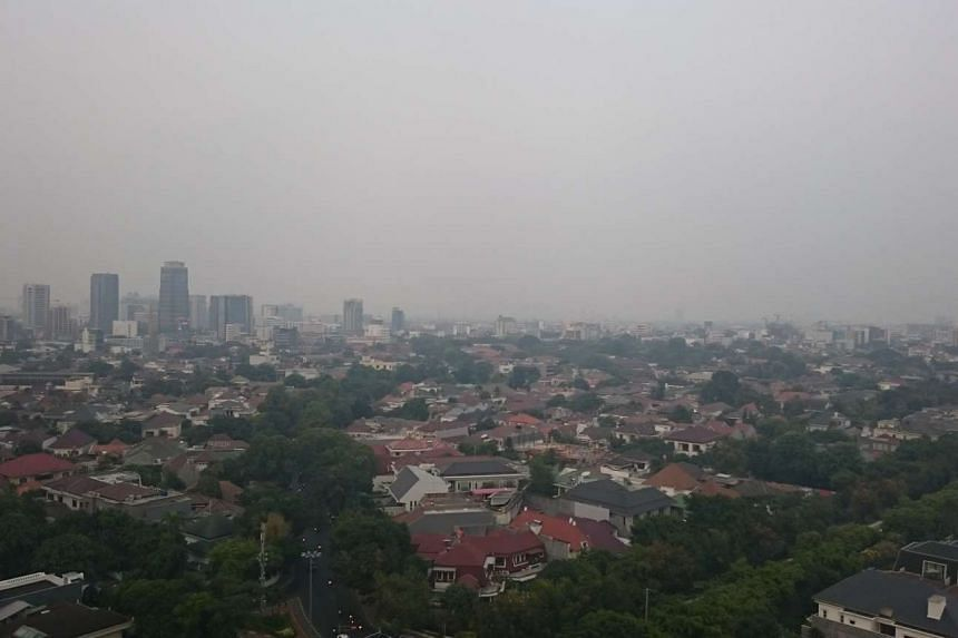 Haze situation in Jakarta, Indonesia on Oct 27, 2015.