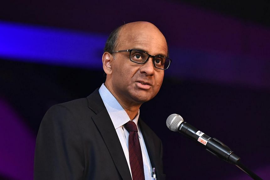 Mr Tharman speaking at the German Centre on Oct 26, 2015.