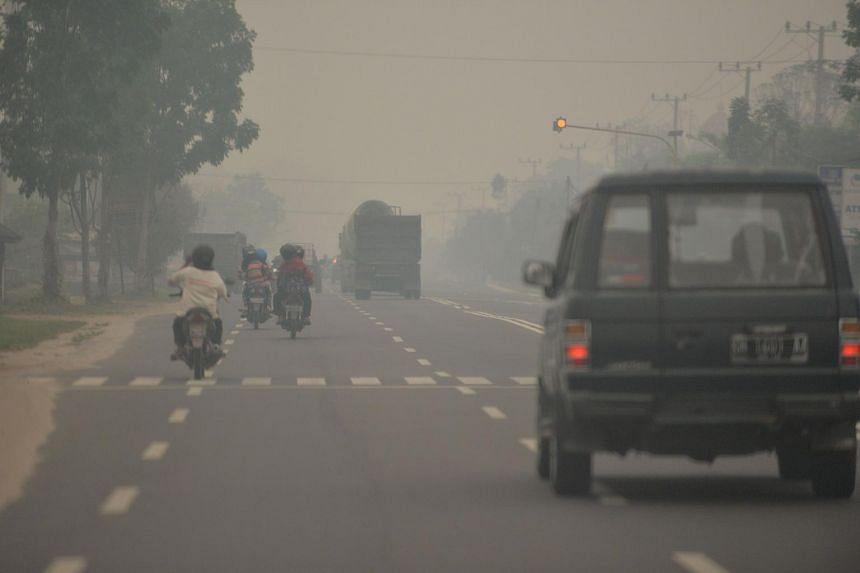 Thick haze shrouding Palangkaraya city, Central Kalimantan on Oct 26, 2015.