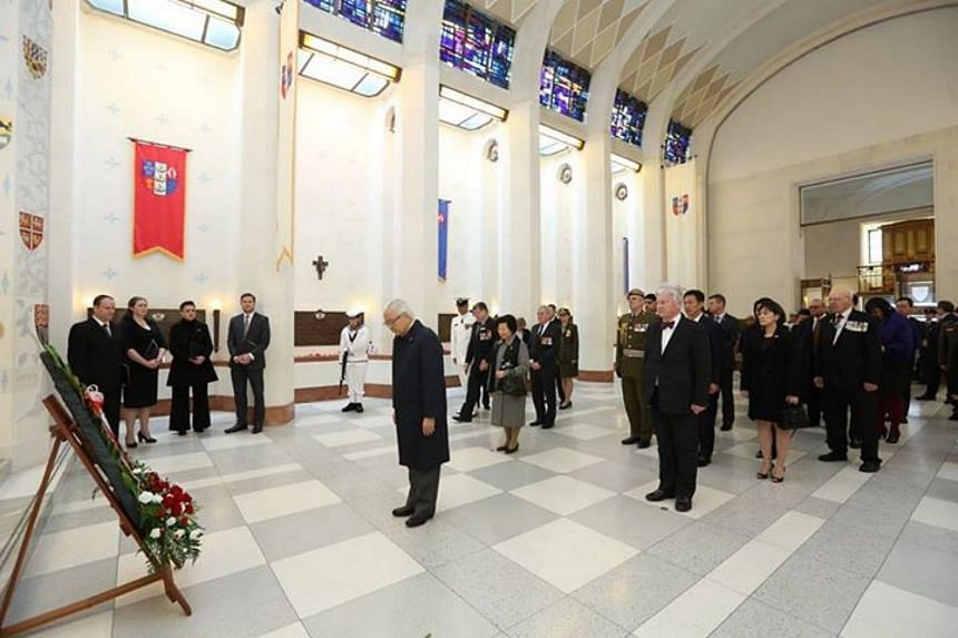 President led the delegation to lay a wreath at the Hall of Memories, the commemorative chapel of the National War Memorial. In this picture, President bows after laying the wreath.