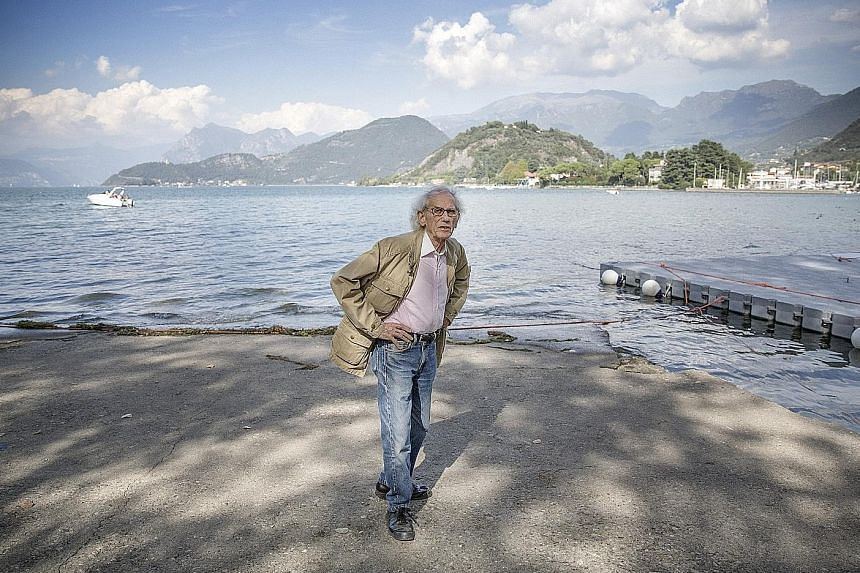 Artist Christo (left) at Lake Iseo in Italy, where his installation will allow people to walk over the water, and a drawing of The Floating Piers (below).