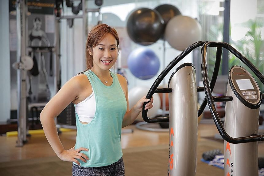 Food columnist Victoria Cheng works out twice a week with VibroGym equipment because the vibrating movements help her achieve results more quickly. Her routines vary through the week, with bike rides, tennis, wakeboarding, martial arts and salsa danc