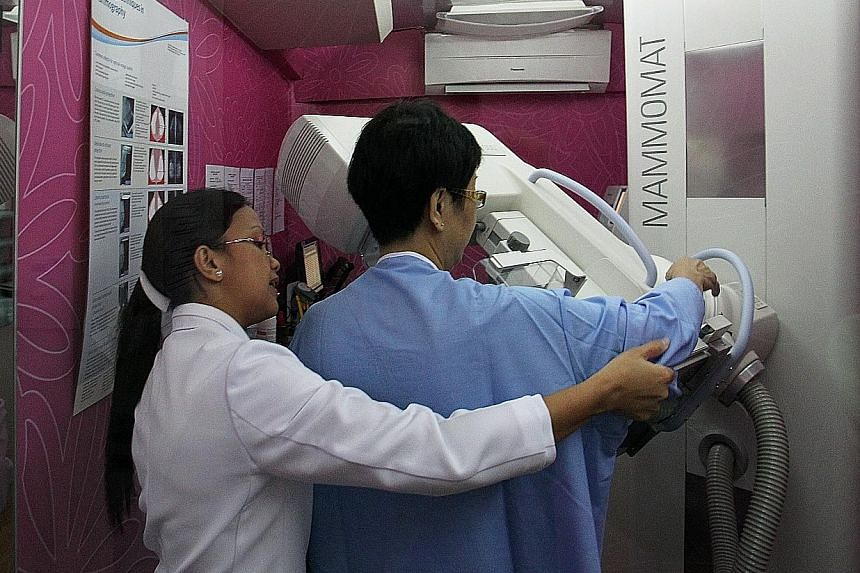 Both dense breast tissues and cancerous tissues appear white on the mammogram, so the cancerous ones are often masked by the dense ones, says Dr Esther Chuwa, a consultant breast surgeon at Gleneagles Hospital.