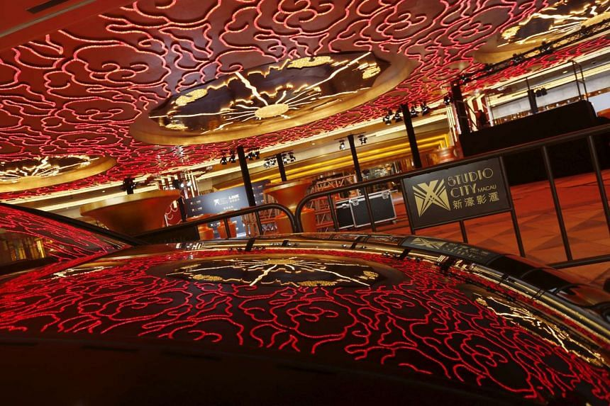 Decoration lights at the main entrance of Melco Crown's Studio City in Macau on Oct 26, 2015.