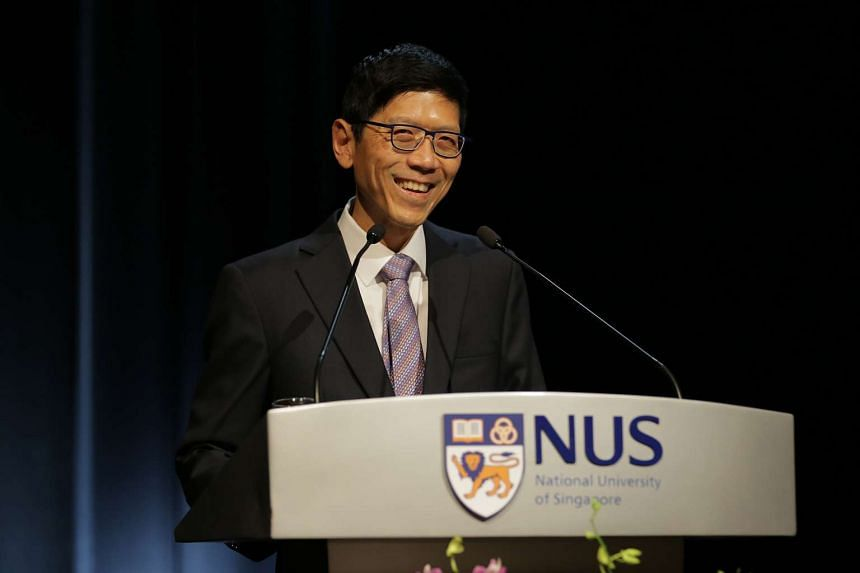 NUS president Tan Chorh Chuan speaking at the annual State of the University Address at the University Cultural Centre on Tuesday, Oct 27, 2015.